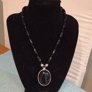 Monet Black Beaded Oval Pendant Necklace